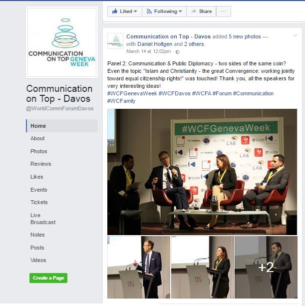 Facebook page world communication summit